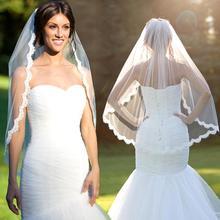 Barato Em Estoque Voile Mariage Marfim Branco Curto Véus De Noiva com Pente Véu de Noiva 2017 Acessórios Do Casamento véu de noiva(China (Mainland))