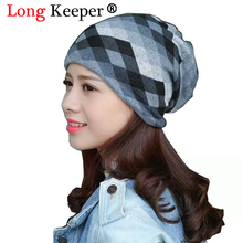 Long Keeper Spring Autumn Casual Brand Hats for Women Plaid Lady Caps Letter Printed Pile Cap Female Beanies Wholesale Retail