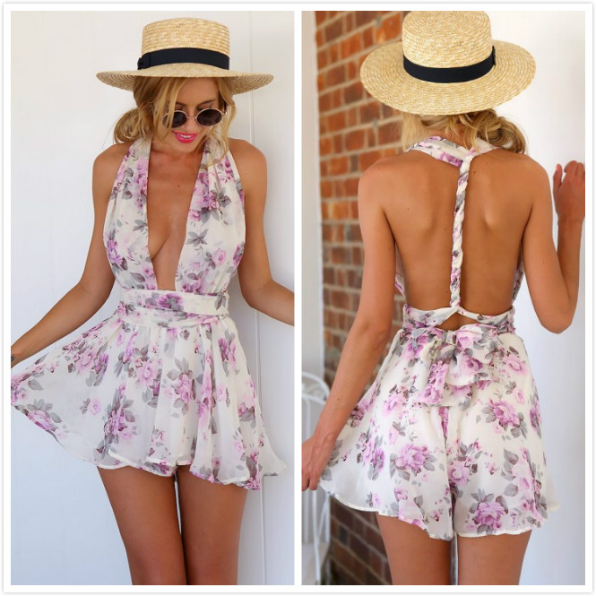 MOONIGHT Sexy v neck print boho Playsuit romper backless tie up short Playsuit women Pleated high waist casual summer playsuit