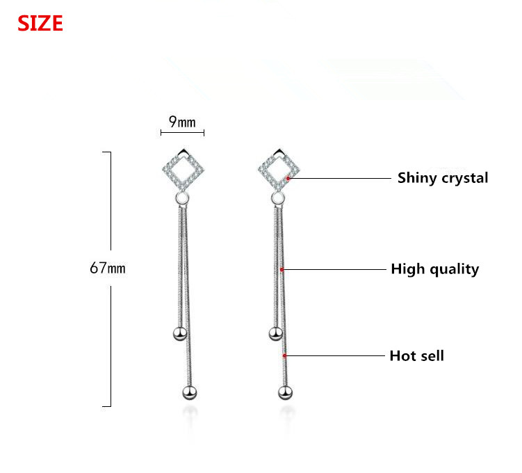 100 925 sterling silver new fashion shiny crystal stud earrings for women wholesale jewelry birthday gift drop shipping in Stud Earrings from Jewelry Accessories