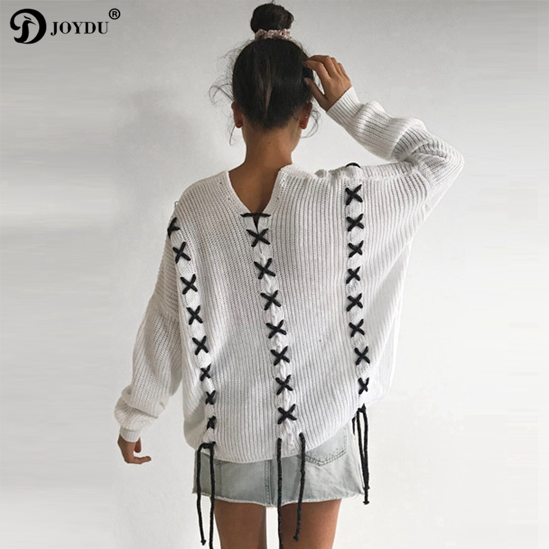 JOYDU 2018 Autumn Sweater Women High Street Boho Lace Up V neck Batwing Sleeve Knitted Sweaters Pullover Top Casual Loose Jumper
