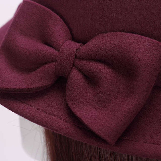 Autumn Winter Women s Faux Woollen Felt Fedora Hat with Bow Vintage Bowler  Hat Trilby Bucket Cap 122434b6544d