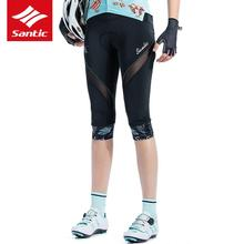 цена на santic  Women's bicycle Cycling Shorts 4D gel Pad 3/4 Riding Bike Short Pants Sportswear Bicycle Clothes Black Tights