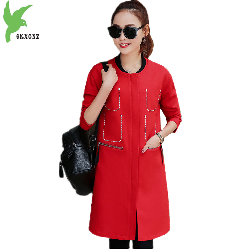 OKXGNZ Spring New Europe Wide waisted font b Women b font Coat2017Solid color Long sleeves font
