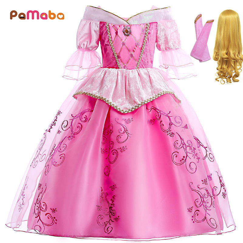 PaMaBa Lovely Girls Dress Princess Aurora Cosplay Costume 1/2 Length Puff Sleeves Children Sleeping Beauty Halloween Party Gowns цена 2017