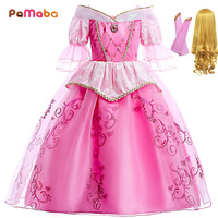 PaMaBa Lovely Girls Dress Princess Aurora Cosplay Costume 1/2 Length Puff Sleeves Children Sleeping Beauty Halloween Party Gowns