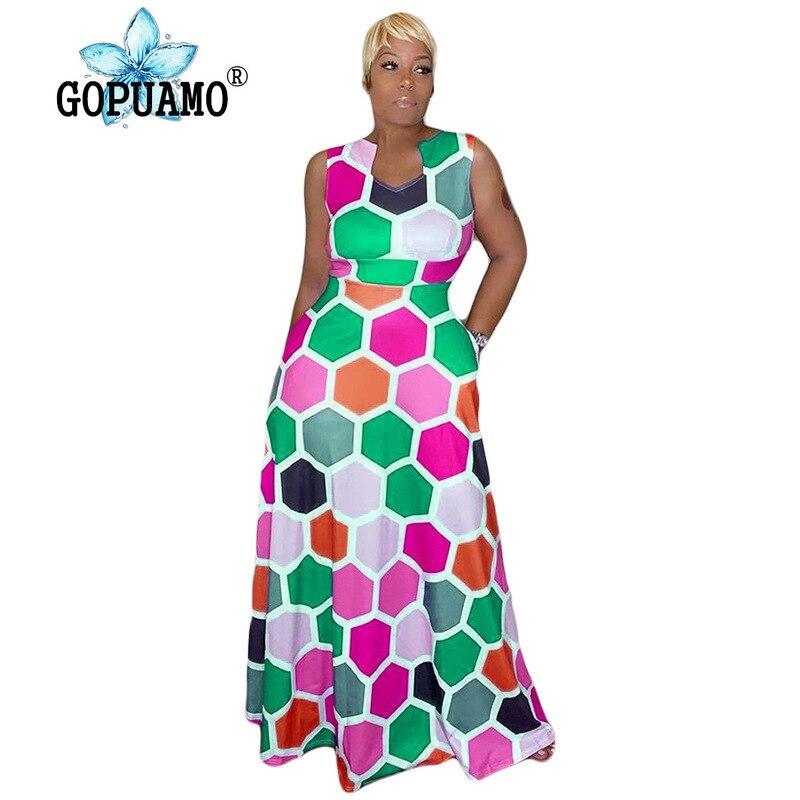 Géométrique imprimé Sexy longue robe femmes sans manches taille haute Fit et Flare Maxi robe dames d'été grande taille robe élégante