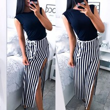 GUMPRUN Summer Dress 2019 Women Fashion Sexy Sleeveless Striped Streetwear Long Ladies Slim Lace Up Beach Casual Dresses