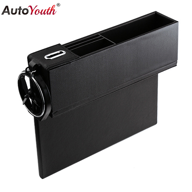 1PCS Car Seat Gap Storage Box Cup Holder Organizer Seat Console Pocket Stowing Tidying Coin Case Automibile Interior Accessories
