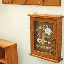 New! Vintage European Style Creative Flag Design Hangable Wooden Key Box Sundries Case Wall Storage Rack Home Decoration