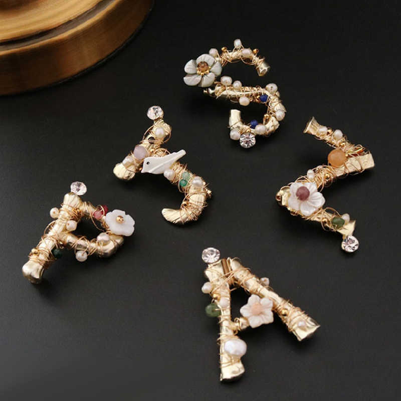 FENASY Manual DIY Handmade Elegant Irregular geometry freshwater pearl brooch Bird letter flower design for women party brooch