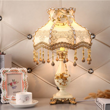 YOOK European Hand-painted Flower Carving Table Lamp for Bedroom Pendant Lace Shade Remote Control LED 220v