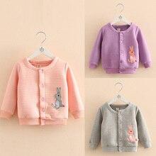 Baby rabbit embroidered jackets girls of new fund of 2016 autumn outfit Korea children's wear children round collar garment