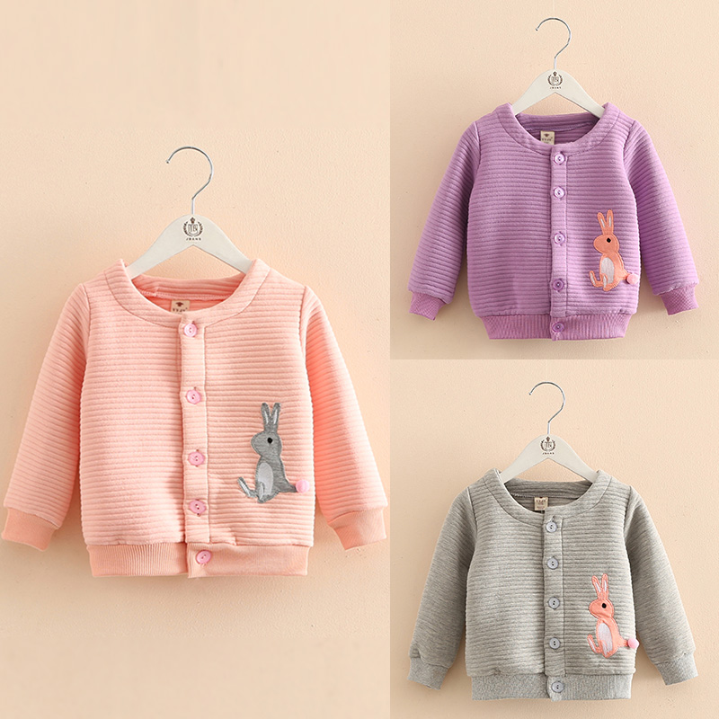 Baby rabbit embroidered jackets girls of new fund of 2016 autumn outfit Korea children's wear children round collar garment