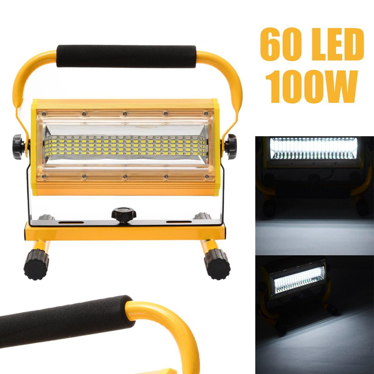 Projecteur de Camping extérieur de secours de tache de lumière d'inondation de travail Rechargeable portative de 100 W 60 LED Mayitr