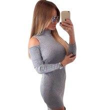 Winter off shoulder long sleeve knitted dresses women sweater sexy evening party Bodycon dress vestidos de