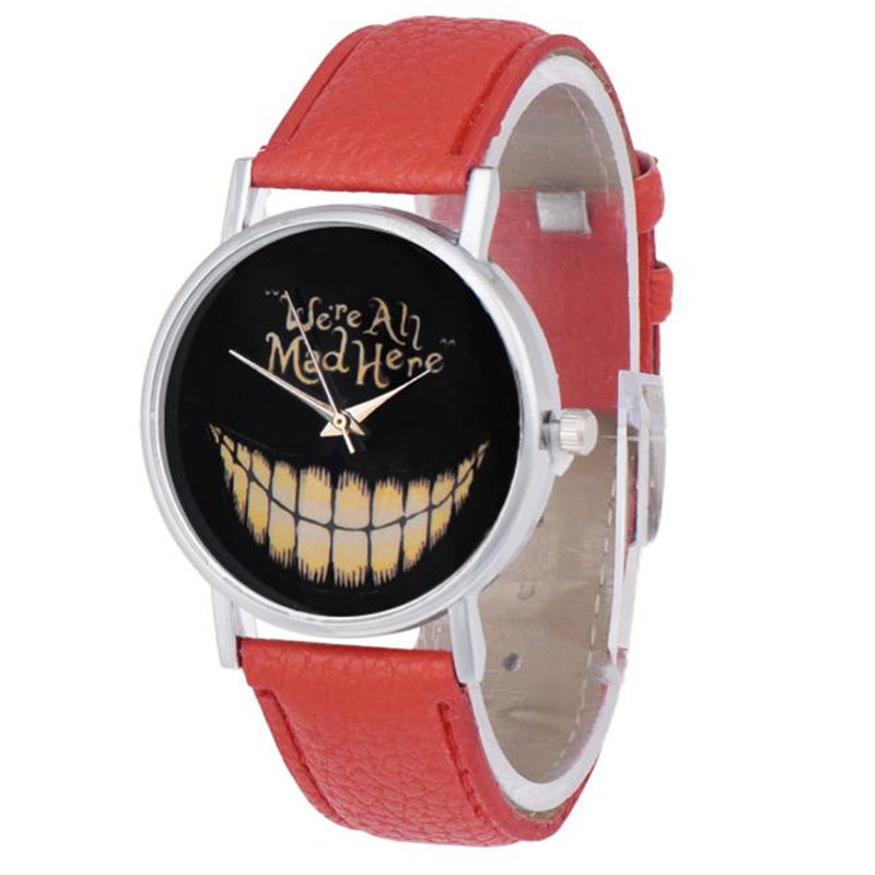 2017 Women Men Watch Leisure Time Faux Leather Analog Smiling Face Wrist Watch blue shope#3005