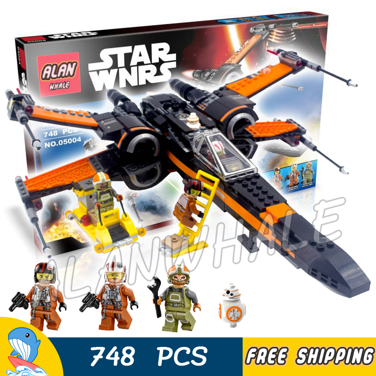 ФОТО 748pcs Bela 05004 New Star Wars Poe's X-Wing Fighter Model Building Blocks Educational Kits Toys Compatible With lego