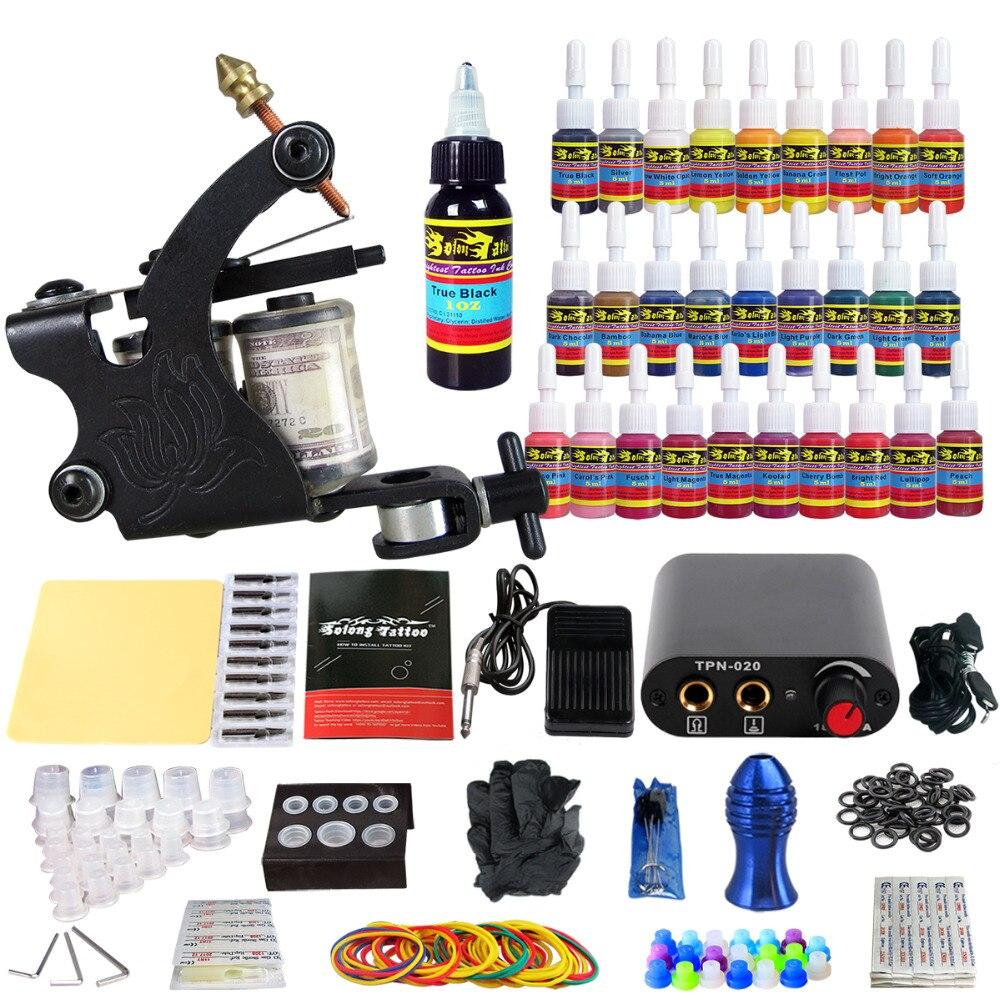 цена на Solong Tattoo Professional Beginner Complete Tattoo Kit 1 Rotaty Machine Guns Power Supply Pack Needles Tips Grips Tubes TK103