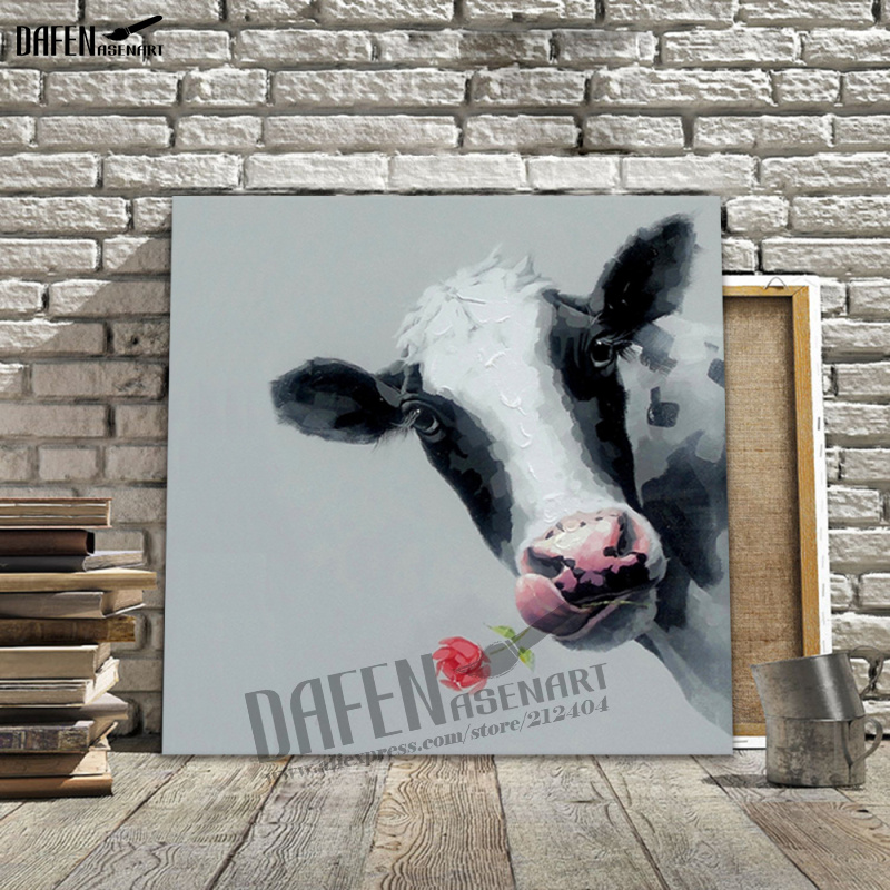 Modern 100 Hand painted Oil Painting Bull Cow Painting Wall Art Animal Hand painted painting poster and prints Canvas painting in Painting Calligraphy from Home Garden