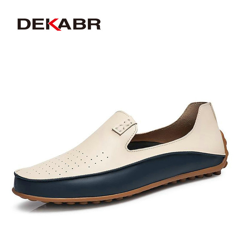 DEKABR Brand Summer Causal Shoes Men Loafers Genuine Leather Moccasins Men Driving Shoes High Quality Flats For Man size 36-47 dekabr suede leather men loafers moccasins designer men casual shoes high quality breathable flats for men boat shoes size 38 44