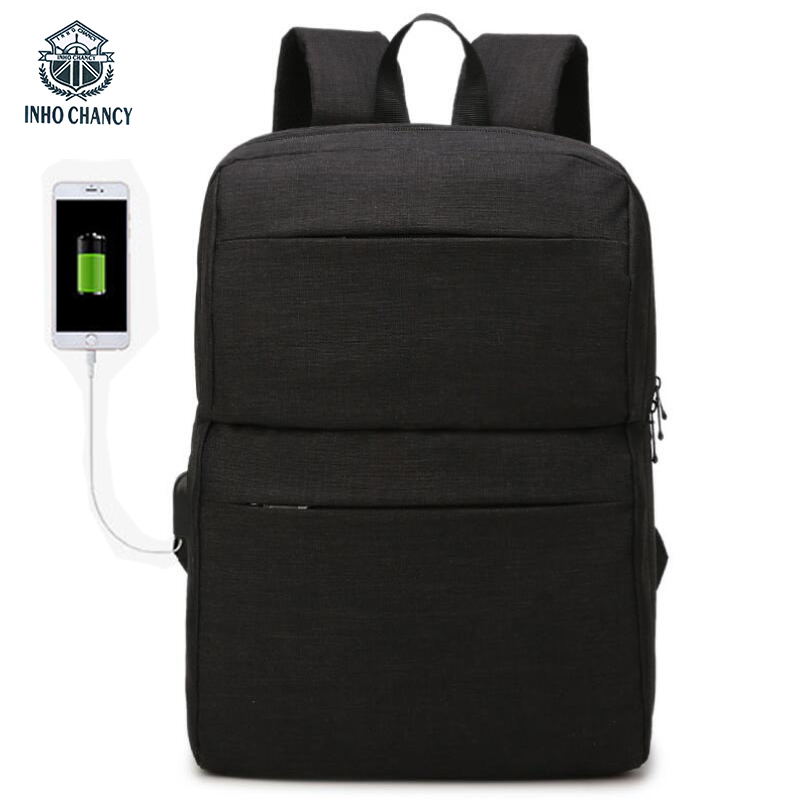 INHO CHANCY New Multi-function USB Rechargeable Backpack 15 Inch Large Capacity Laptop Back Pack Fashion Travel School Bag Men