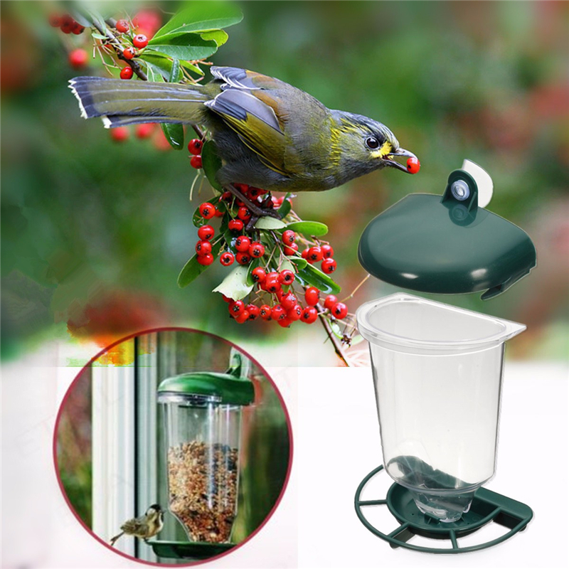 Glass Perspex Window Bird Feeder Hanging Suction Cup Automatically Feeding Clear Viewing Birds Seeds Feed Peanut For Pet Macaws