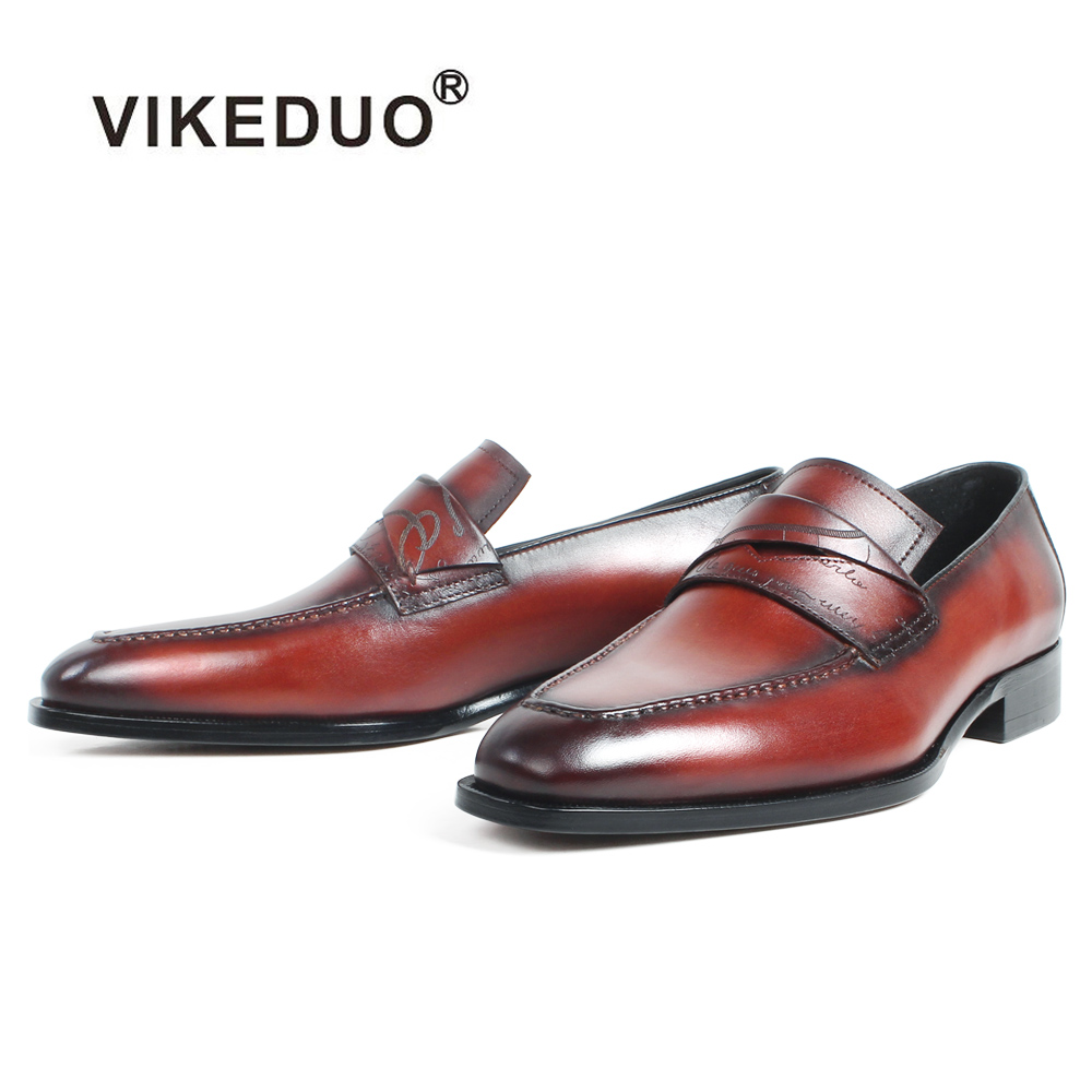 VIKEDUO Casual Men's Loafers Shoes Genuine Cow Leather Slip-On Men Shoes Square Toe Patina Letter Laser Bespoke Zapatos Hombre