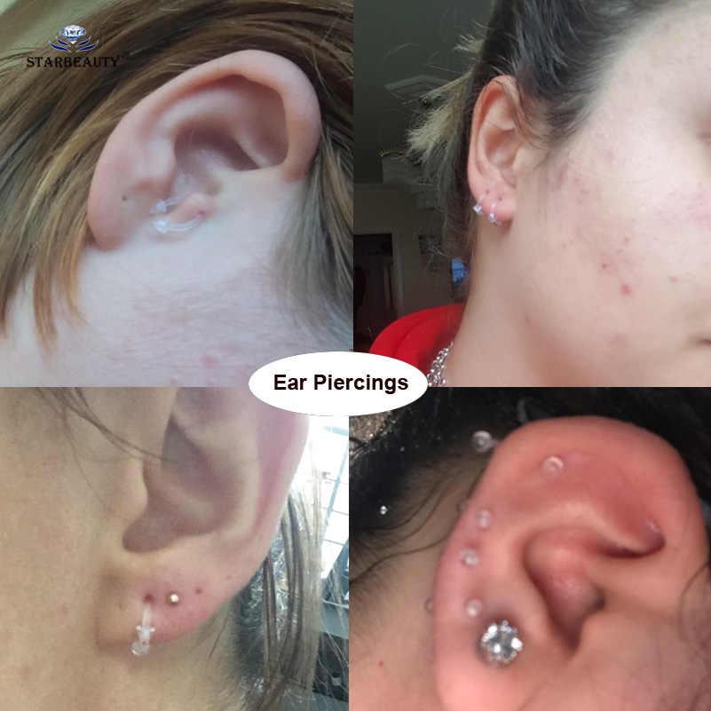 5 шт./компл. прозрачное поддельное кольцо для носа, перегородка, кольцо для живота, серьги, пластмассовый Лабрет, пирсинг спираль, пирсинг бровей, штанги, кольца для пирсинга языка