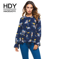 HDY Haoduoyi Floral Printed Blouse Women Long Sleeve Shirts Pleated Ruffles Blouses Flowers Casual New 2018 Spring Autumn Tops