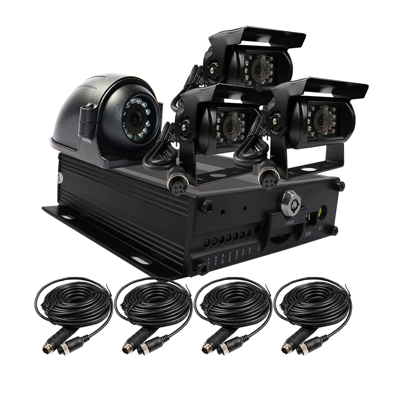 Free Shipping H.264 I/O 128GB SD G-sensor Car Vehicle DVR Video Recorder Kit + Metal IR Side Rear View Car Camera for Truck Bus