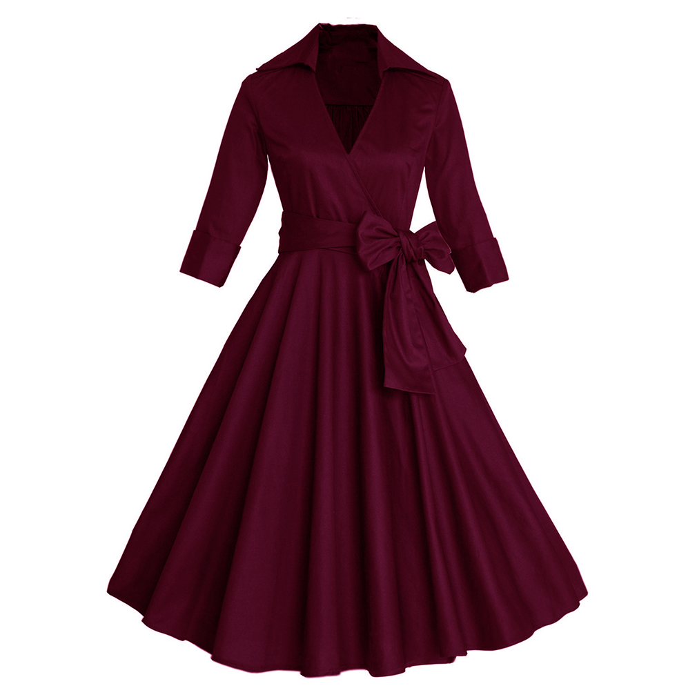Blue Elegante 60 Swing 2017 Audrey purple Hepburn Vestidos Vestido Rockabilly Mujeres Manga S Otoño Sexy black Las Para Media red Vintage 50 Retro IPwZFqHw