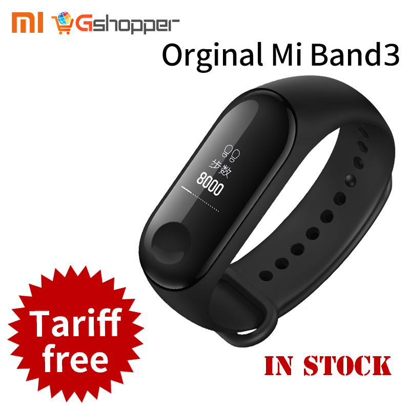 2018 New Original Xiaomi Mi Band 3 Smart Bracelet Black 0.78 inch OLED miband 3 Instant Message Call Weather Forecate