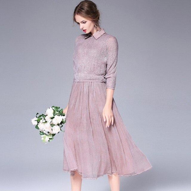 Silk Cotton Dress Women Acrylic Knited Top Two Piece Set Elastic ...