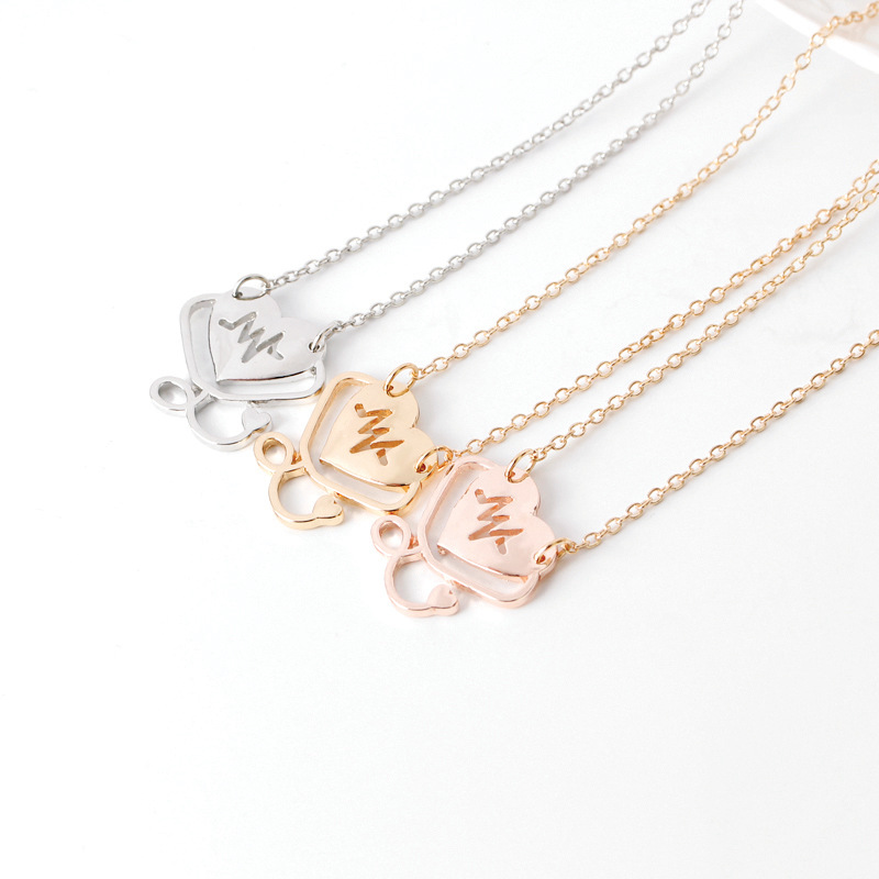 letter Heartbeat Doctor Hollow love Heart Stethoscope Cardiogram Pendant Necklace English alphabet  heart jesus necklace