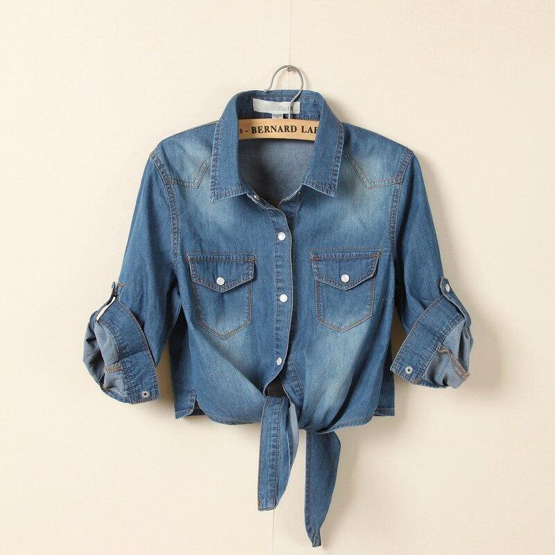 2017 Autumn Fashion Women Streetwear Asymmetrical Bow Tie Blouse Character 3/4 Sleeve Over Size Short Denim Jeans Shirt Tops