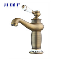 Vanity Sink Antique Brass Faucet Stream Spout Tap Deck Mounted Bathroom Basin Sink Faucet Solid Brass