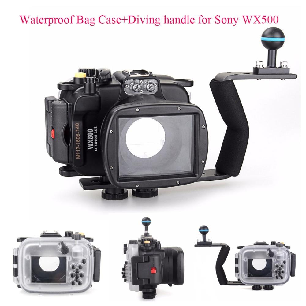 Tüketici Elektroniği'ten Kamera / Video Çantaları'de 40 m/130ft Sualtı Dalış kamera muhafazası Sony DSC WX500 + Dalış kolu  su geçirmez Çanta Case Sony WX500 Kamera title=