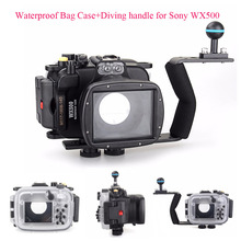 40m/130ft Underwater Diving Camera Housing Case for Sony DSC WX500 + Diving handle,Waterproof Bag Case for Sony WX500 Camera