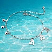 В форме сердца — в форме 925 чистое серебро ножной браслет, Бусины ножной браслет для женщины
