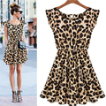 2016 Fashion Women Summer Dress Leopard Print Sleeveless Vest Dress Women Casual Dress Fashion Sexy Club Wear Skater Vestidos