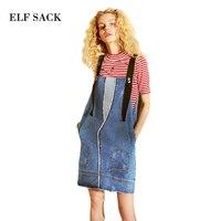 ELF SACK 2018 Summer Denim Dress Women Washed Sling Dresses Female Cut Hem Rough Sleeveless Short One Piece Denim Dresses