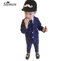 2018 New Children Clothing Set England Kids Clothes Gentleman Boys Party Wedding Suits Baby Boy Formal Plaid Long sleeved Sets