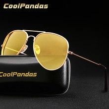 Piloto de aviación amarillo gafas de sol para conducir de visión nocturna de las mujeres de los hombres gafas UV400 gafas para conductor gafas de sol 3025