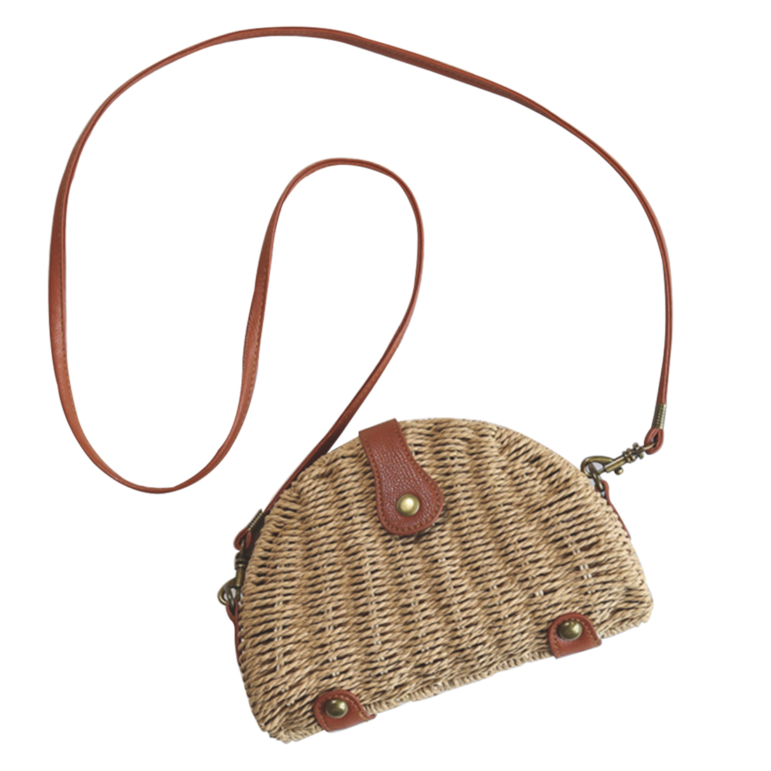 HIPSTEEN 2018 Women Bags Mini Semicircle Woven Straw Cross-Body Bag Handmade Messenger Bag With Removable Shoulder Strap Design