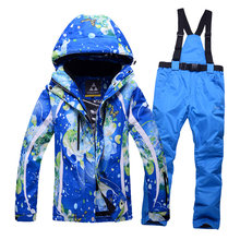 Free shipping women ski suit jacket windproof warm color outdoor sportswear + Pant Suit Waterproof winter jacket Women S-XXL