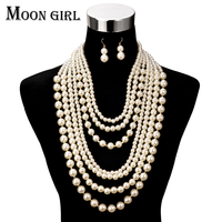 Moon Girl Fashion Pearl Jewelry Display Choker Big Statement Necklace Multilayer Simulated Pearl Long Necklace Women