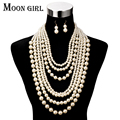 Moon Girl Fashion Pearl jewelry display choker big statement necklace Multilayer Simulated Pearl long necklace women accessories