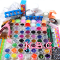 2015 New 78 Pieces Pro Nail Art Tips Kit DIY Acrylic Nail Glitter Powder Nail Art Tool kit 140 set