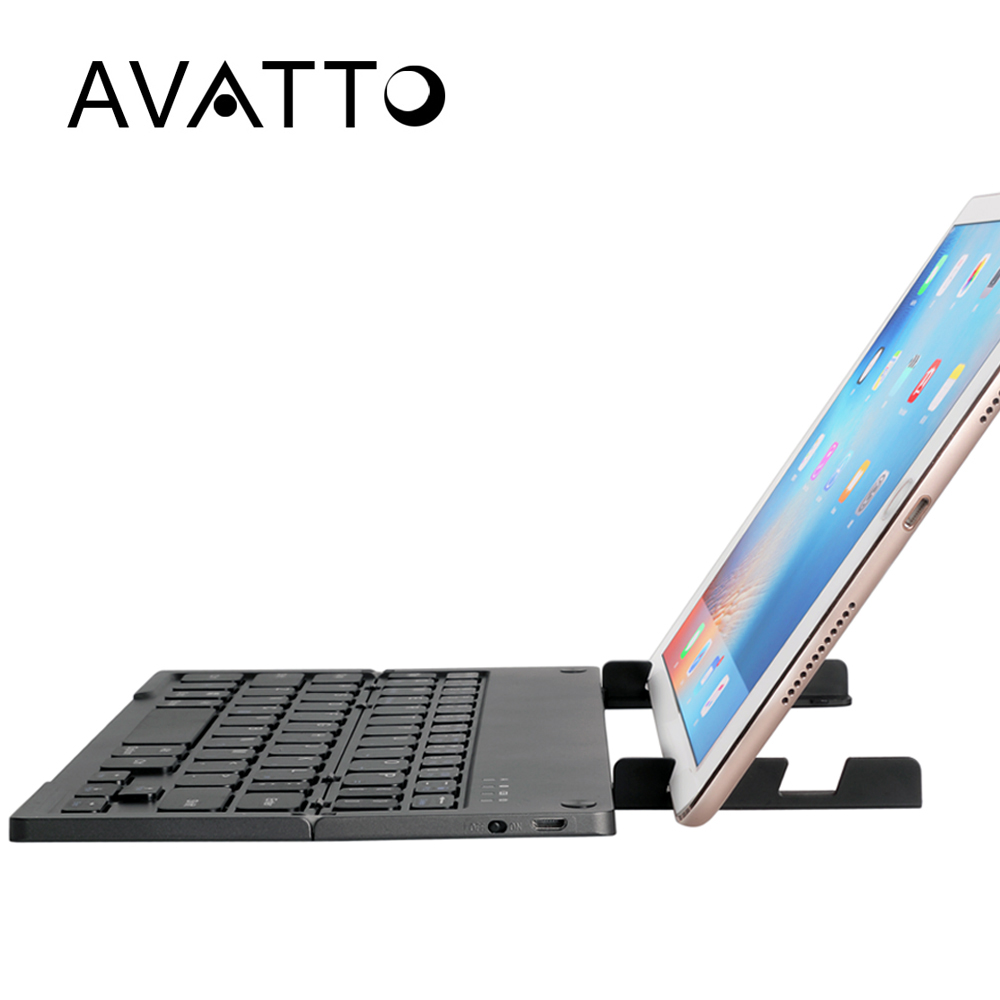 [AVATTO] Newest Bluetooth Folding Mini Keyboard with Tablet Stand Foldable BT Wireless Keypad For IOS/Android/Windows ipad phone
